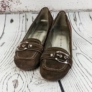 Marc Fisher Mfarlines Brown Suede Wedge Loafers